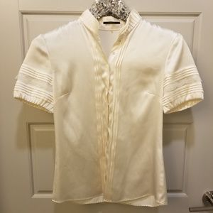 Elie Tahari Silk Cream Lace Button Up Blouse XS